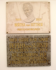 Memorial plaque for Bertha von Suttner at her final residence in Vienna, Austria